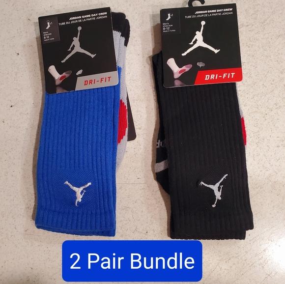 2 Pair Bundle Dri-Fit Jordan Crew Socks Size Large